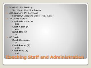 Coaching Staff and Administration