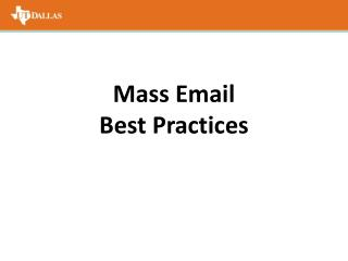 Mass Email  Best Practices