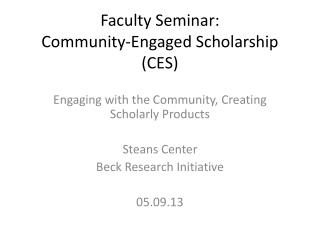Faculty Seminar: Community-Engaged Scholarship (CES)
