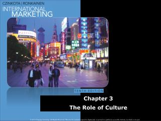 Chapter 3 The Role of  Culture