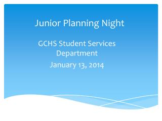 Junior Planning Night