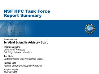 NSF HPC Task Force Report Summary