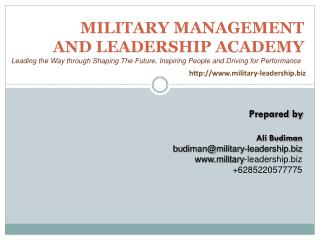 MILITARY MANAGEMENT AND LEADERSHIP ACADEMY