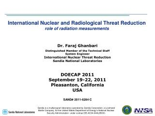 International Nuclear and Radiological Threat Reduction role of radiation measurements