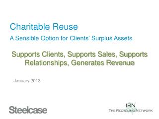 Charitable Reuse A Sensible Option for  Clients' Surplus Assets Supports Clients, Supports Sales, Supports Relationship
