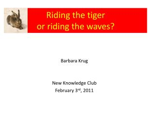 Riding the tiger  or riding the waves?