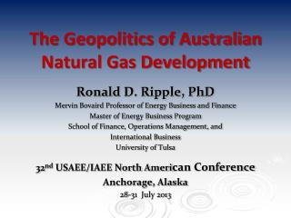 The Geopolitics of Australian Natural Gas Development