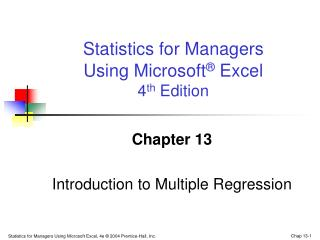 Chapter 13 Introduction to Multiple Regression