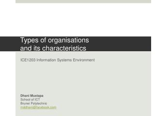 Types of organisations  and its characteristics