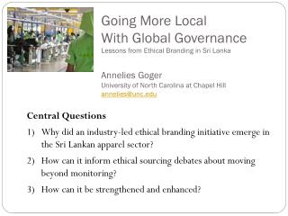 Going More Local  With Global Governance Lessons from Ethical Branding in Sri Lanka