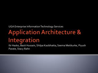 Application Architecture & Integration