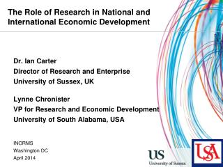 The Role of Research in National and International Economic Development