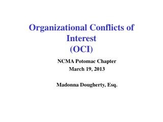 Organizational Conflicts of Interest (OCI)