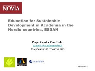 Education for Sustainable Development in Academia in the Nordic countries, ESDAN