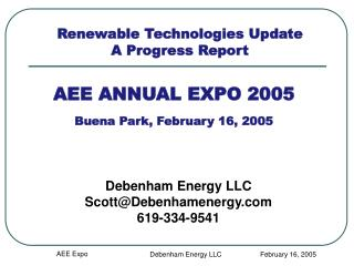 AEE ANNUAL EXPO 2005 Buena Park, February 16, 2005