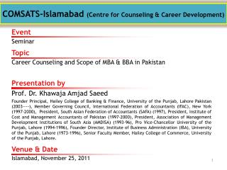 COMSATS-Islamabad  (Centre for Counseling & Career Development)