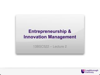 Entrepreneurship & Innovation Management