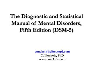 The Diagnostic and Statistical Manual of Mental Disorders, Fifth Edition (DSM-5)