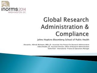 Global Research  Administration & Compliance