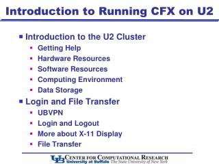 Introduction  to Running CFX on U2