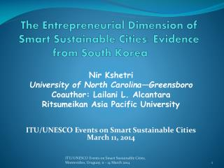 The Entrepreneurial Dimension of Smart Sustainable Cities: Evidence from South  Korea