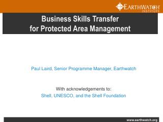Business Skills Transfer  for Protected Area Management