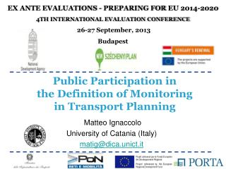 Public Participation in  the  Definition of Monitoring  in Transport Planning