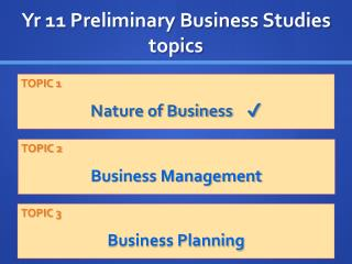 Yr 11 Preliminary Business Studies topics