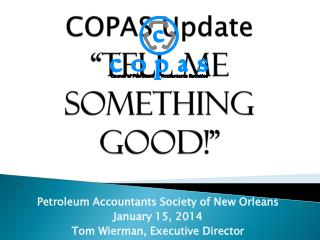 "COPAS Update ""Tell me something good!"""
