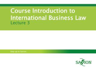 Course Introduction to International Business Law