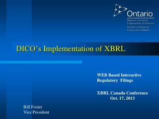 DICO's  Implementation of  XBRL