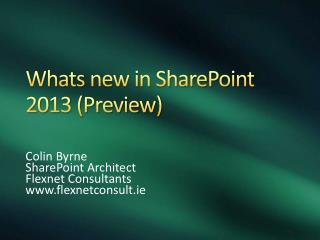 Whats  new in SharePoint 2013 (Preview)
