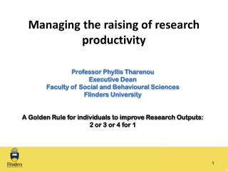Managing the raising of research productivity