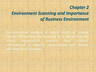 Chapter 2  Environment Scanning and Importance of Business Environment