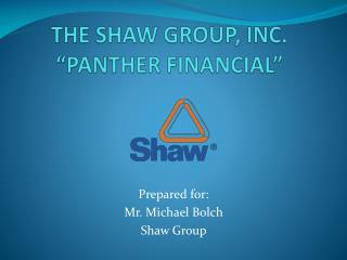 "THE SHAW GROUP, INC. ""PANTHER FINANCIAL"""