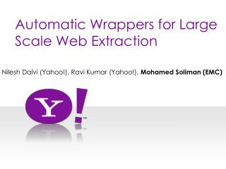 Automatic Wrappers for Large  Scale Web Extraction