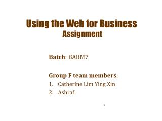 Using the Web for Business Assignment