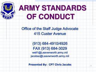 ARMY STANDARDS  	OF CONDUCT
