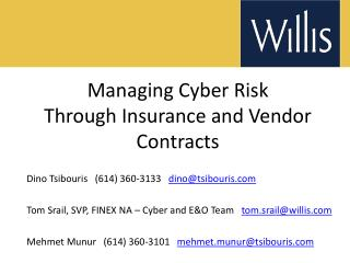 Managing Cyber Risk  Through Insurance and Vendor Contracts