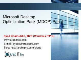 Microsoft  Desktop  Optimization Pack ( MDOP ) Part 1