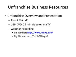 Unfranchise  Business Resources