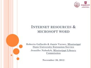 Internet resources & microsoft word