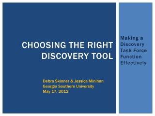 Choosing the Right Discovery Tool