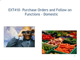 EXT410– Purchase Orders and Follow on Functions - Domestic