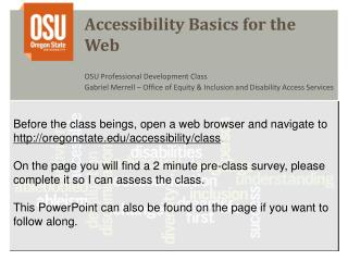Accessibility Basics for the Web