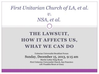 First  Unitarian Church of  LA, et al.  v.   NSA, et al.