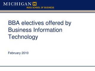 BBA electives offered by Business Information Technology