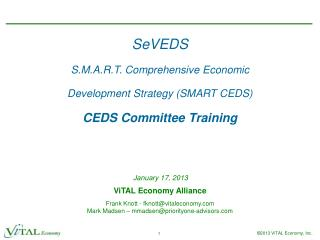 SeVEDS S.M.A.R.T. Comprehensive Economic  Development Strategy (SMART CEDS) CEDS Committee Training