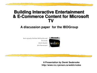Building Interactive Entertainment & E-Commerce Content for Microsoft TV