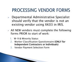 PROCESSING VENDOR FORMS